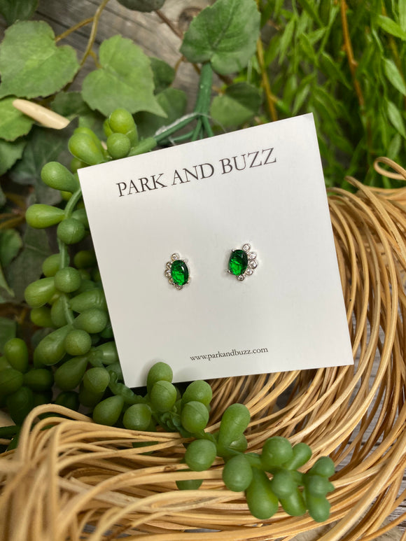 Blowout Sale - Park and Buzz Green/White Stone Earrings