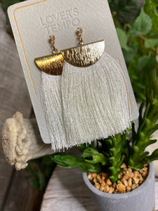 Lovers Tempo - Gold with White Brush Earrings