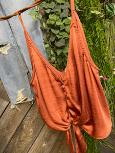 Free People - Cropped Tank Top in Copper