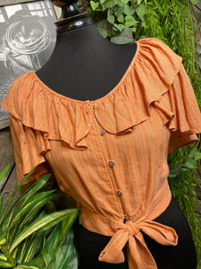 Blowout Sale - FP Button Front Blouse in Orange