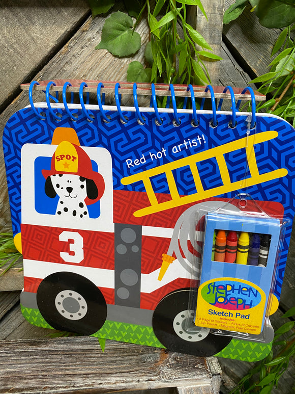 Toys - Fire Engine Sketch Pad with Crayons