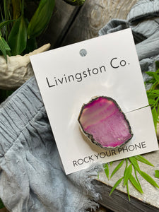 Giftware - Livingstone Co. Rock Your Phone Pink & White Pop Socket With Silver Edging