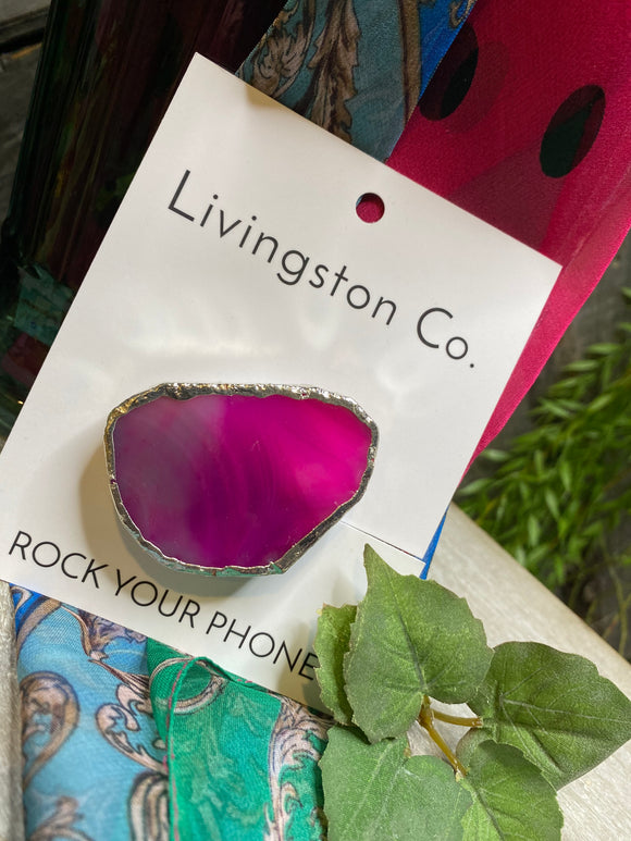 Giftware - Livingstone Co. Rock Your Phone Pink Pop Socket with Silver Edging