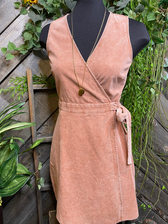 Sadie & Sage - Washed Marsala Tie Dress