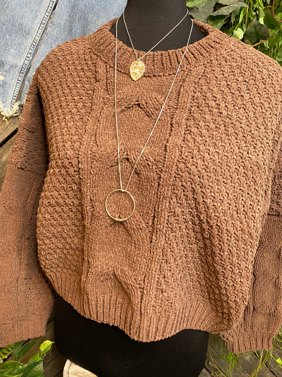 Sadie & Sage - Cropped Long Sleeve Sweater in Chocolate