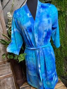 Self Care - Hello Mellow Tie-Dye Housecoat in Light Blue