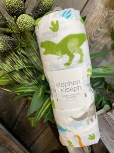 Baby Boutique - Stephen Joseph Muslin Swaddle in Dinosaur