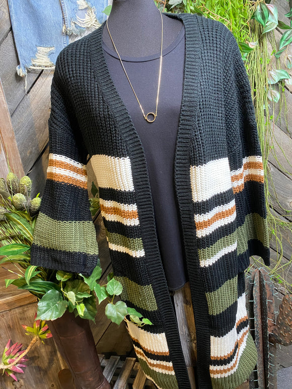 Sadie & Sage - Cardigan in Forest/Black/Brown & White