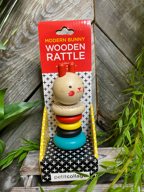 Baby Boutique - Modern Bunny Wooden Rattle