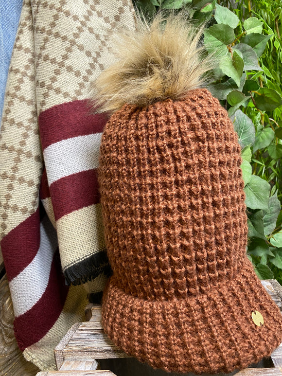 Winter Accessories - Knitted Toque in Chestnut