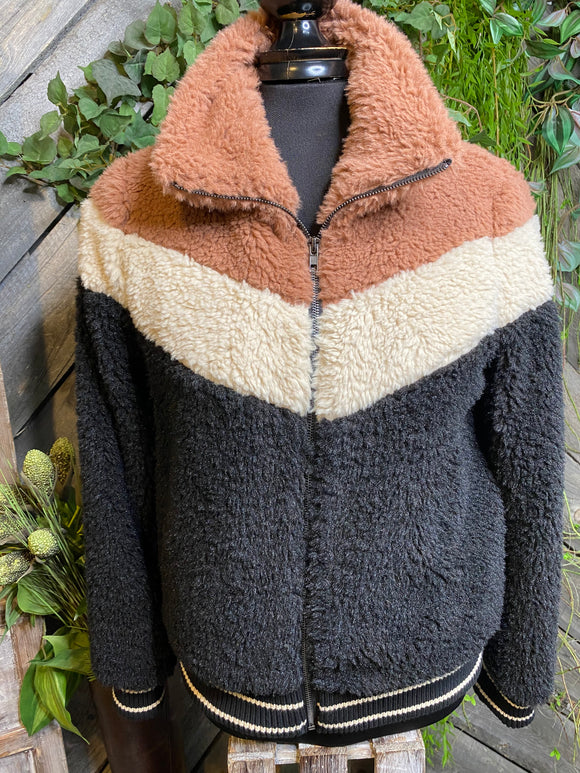 Saltwater Luxe - Faux Fur Coat in Rust/Cream & Black Stripe