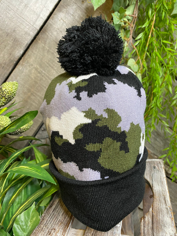 Winter Accessories - Imagine Imports toque in Grey/Black/Green Camo