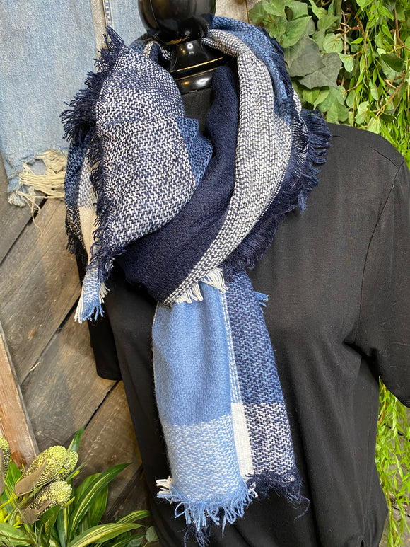 Winter Accessories - Nisha Creations Scarf in Navy/Blue/White