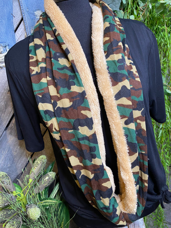 Winter Accessories - Nisha Creations Sherpa Lined Infinity Scarf in Camo