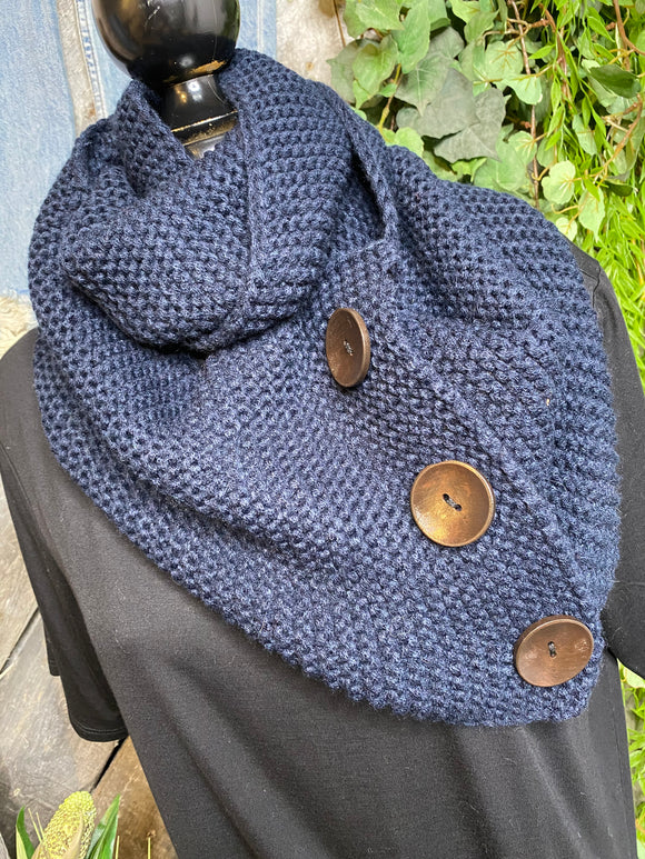Blowout Sale - Infinity Scarf with Buttons in Navy