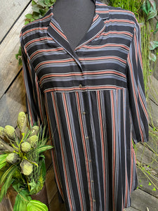 Blowout Sale - Nighty in Grey/Black/Pink Striped