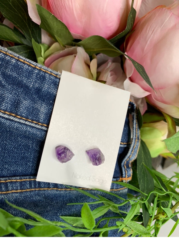 Blowout Sale - Naked Sage Purple Rock Earrings
