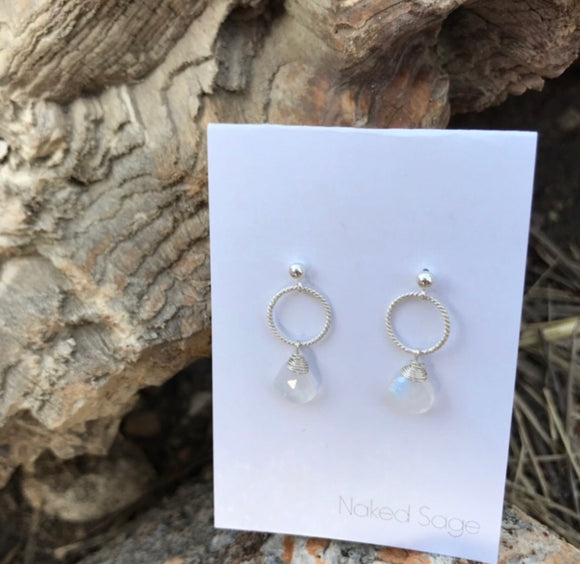 Blowout Sale - Naked Sage Sterling Moonstone Earrings