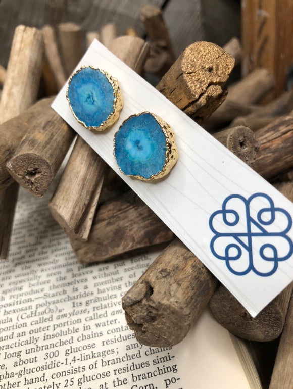 Glee Jewelry - Blue Rock Gold Earring