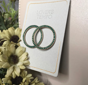 Blowout Sale - Lovers Tempo Green Studded Circle Earrings