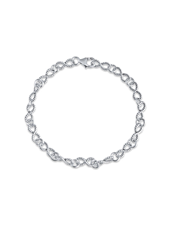 Sterling Silver Vintage Style Eternity Charm Bracelet (17cm, 18cm and 20cm length)