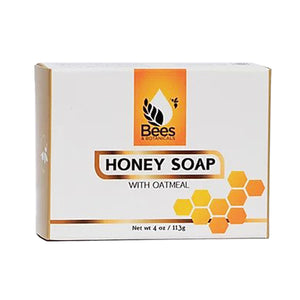 An image of the Oatmeal & Honey Soap box by Bees and Botanicals with the logo on the front.