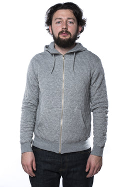 Pherrow's 15W-PQPK1 Quilted Hooded Sweatshirt Grey