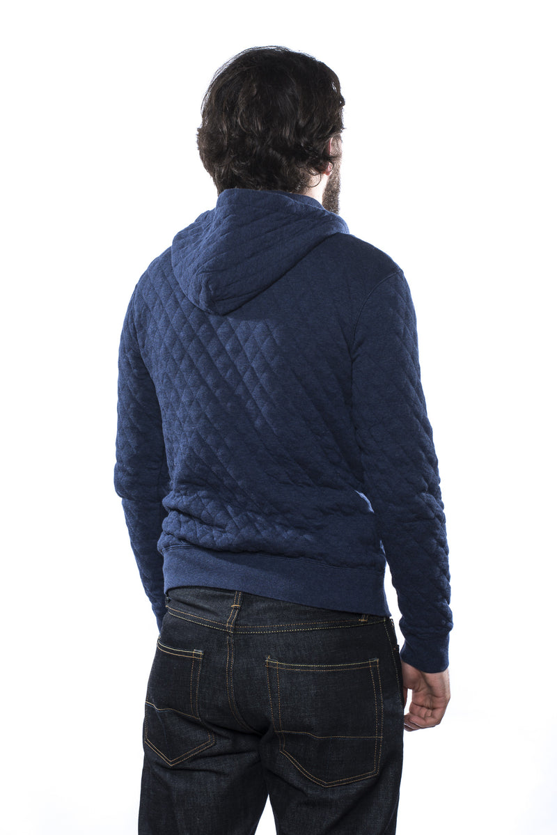 Pherrow's 15W-PQPK1 Quilted Hooded Sweatshirt Navy