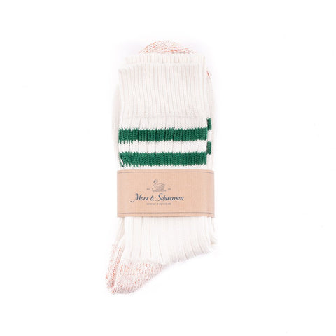 Merz b. Schwanen B75 Stripe Socks (White/Green)