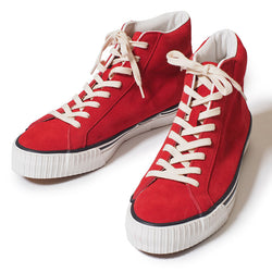 Warehouse 3401 High Top Suede Sneaker (Red)