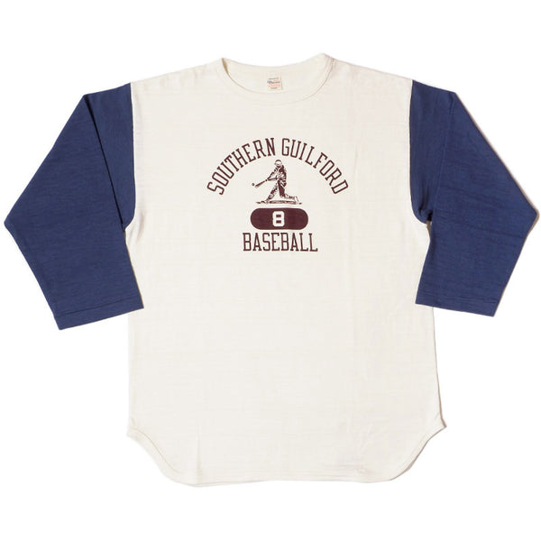Warehouse 4800 Southern Guilford Baseball Tee (Cream/Navy)