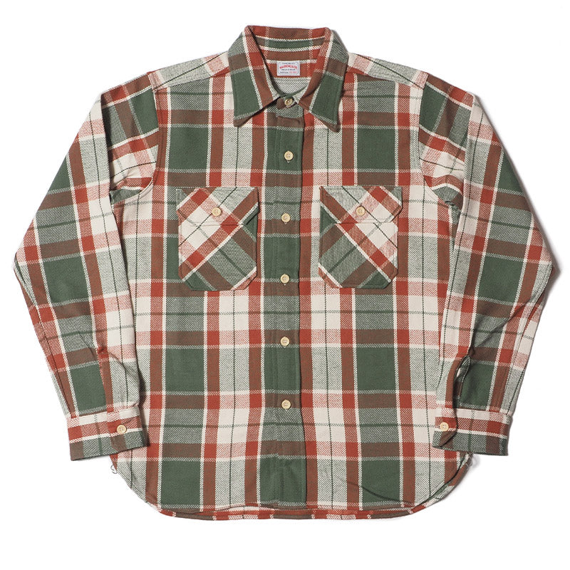 Warehouse 3104 E Pattern Flannel Shirt (Green Washed)