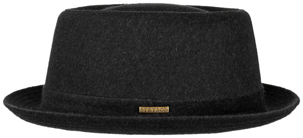 Stetson 1690102-1 Wool Pork Pie Hat (Black)