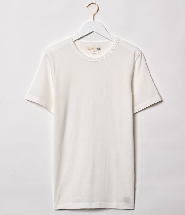 Merz b. Schwanen 1950's Sea Island Cotton Crew Neck Tee (White)