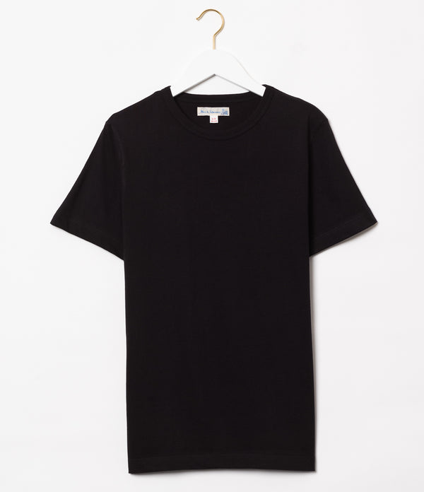 Merz b. Schwanen 1950's Sea Island Cotton Crew Neck Tee (Black)