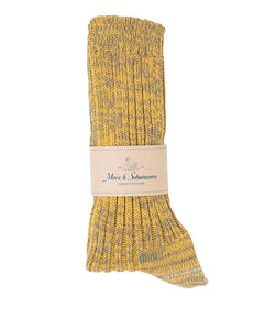 Merz b. Schwanen 271 Cotton Socks (Army/Yellow)