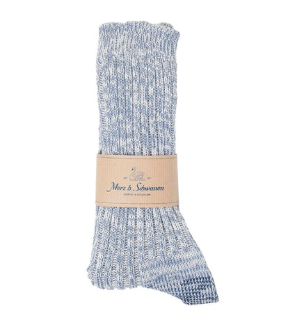 Merz b. Schwanen 271 Cotton Socks (Blue Melange)