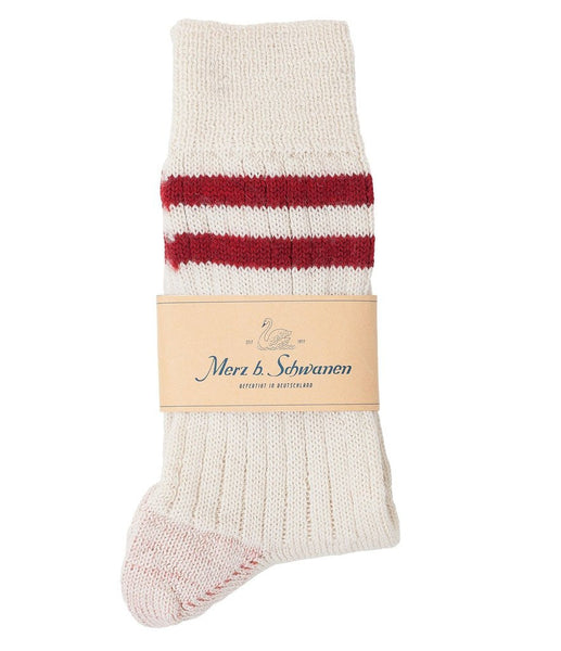 Merz b. Schwanen S75 Organic Wool Striped Socks (Nature/Dark Red)