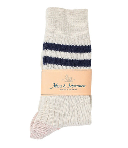 Merz b. Schwanen S75 Organic Wool Striped Socks (Nature/Dark Navy)