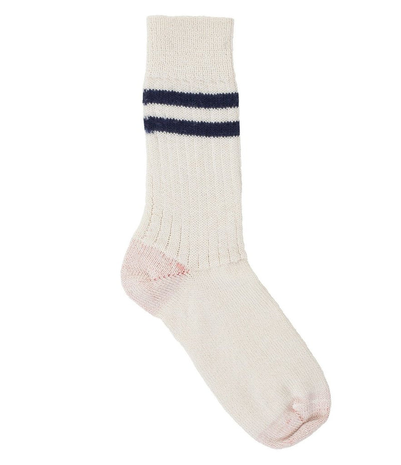 Merz b. Schwanen S75 Organic Wool Striped Socks (Nature/Ink Blue)