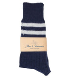 Merz b. Schwanen S75 Organic Wool Striped Socks (Ink/Nature)