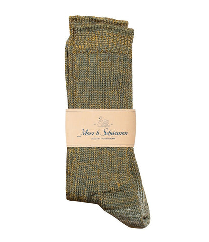 Merz b. Schwanen W72 Merino Wool Socks (Army/Yellow)