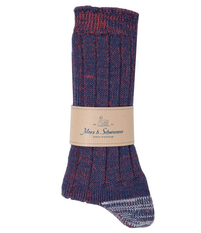 Merz b. Schwanen W72 Merino Wool Socks (Navy/Red)