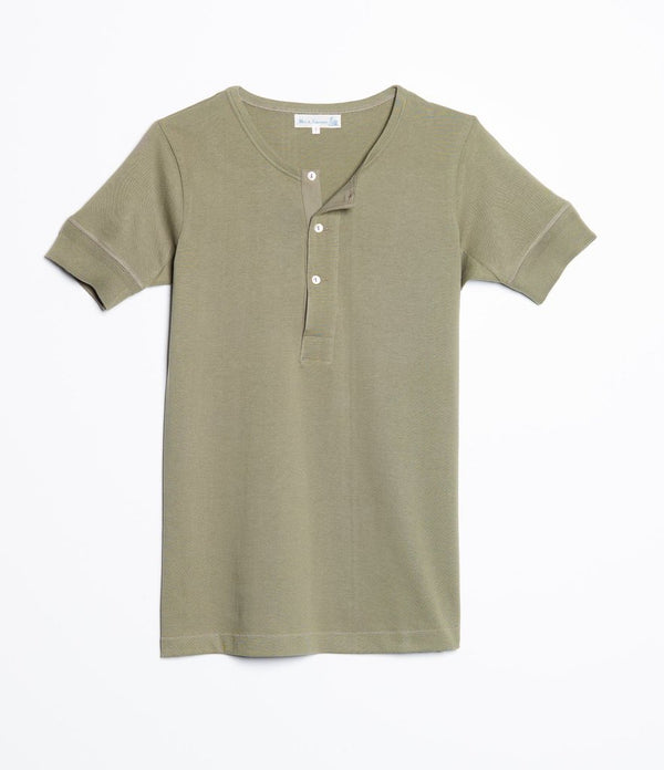 Merz b. Schwanen 207 Short Sleeve Henley (Army Green)