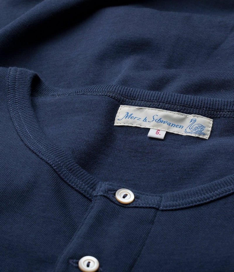 Merz b. Schwanen 207 Short Sleeve Henley (Ink Blue)