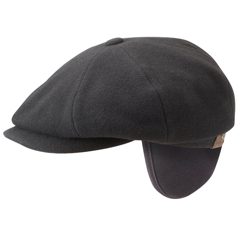 buy sale new collection top quality Stetson 6840102-1 Hatteras Wool/Cashmere Earwarmer Flat Cap (Black)
