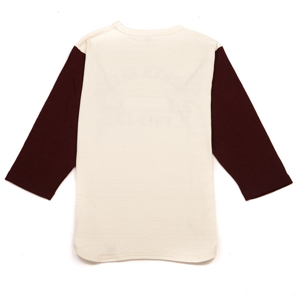 Warehouse 4800 North Park Baseball Tee (Cream/Bordeaux)