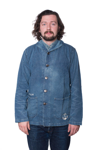 Warehouse U.S.N. Shawl Collar Washed Denim Jacket