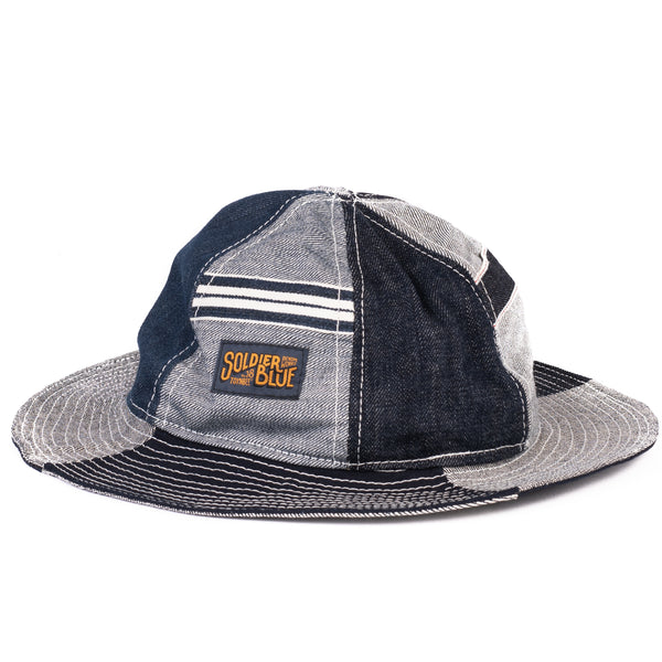 Soldier Blue Brick Lane Booner Hat (Selvedge Multi-Panel)