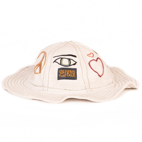 Soldier Blue Brick Lane Embroidered Booner Hat (Peace And Love)